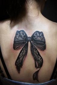 3D非常逼真的黑色蕾丝蝴蝶结背部纹身图案