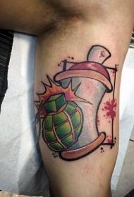 new school手臂彩色手榴弹与喷漆纹身图案