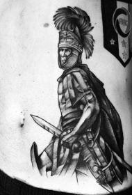 侧肋3D风格设计黑白的罗马武士纹身图案
