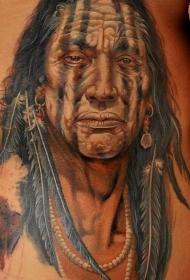 写实多彩的美洲土著肖像纹身图案