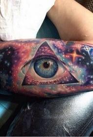 手臂令人惊叹的3D五彩眼睛和星空纹身图案