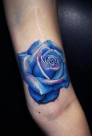 手臂3D风格惊人的蓝色玫瑰纹身图案