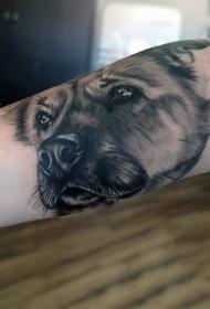 手臂可爱的3D逼真彩色狗头像纹身图案