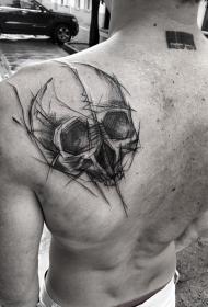 背部骷髅钢笔画风格纹身图案
