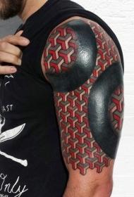 非常华丽黑色和红色盔甲手臂纹身图案