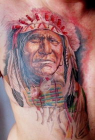 彩色北美土著肖像胸部纹身图案