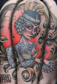 old school手臂彩色的女子肖像纹身图案