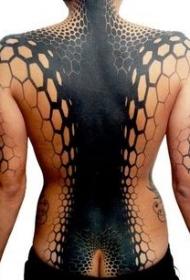 背部惊人的黑白规模神秘装饰纹身图案