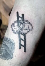 手臂黑色的手绘梯子和云朵纹身图案