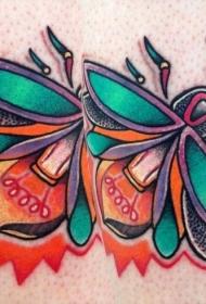 色彩鲜艳的灯泡昆虫纹身图案