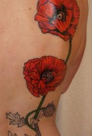 背部红罂粟花与甲壳虫纹身图案