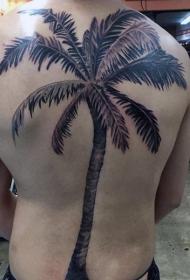 背部天然的黑色棕榈树纹身图案