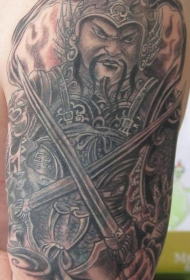 大臂中国风愤怒的战士纹身图案