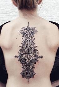 背部美丽的黑色线条花卉纹身图案