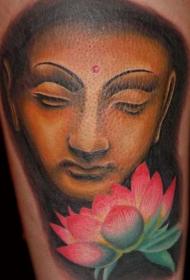 美丽多彩的佛像与莲花纹身图案