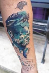 小臂带有胡须老人肖像和鸟纹身图案