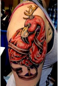 大臂红色火烈鸟与鹿角纹身图案