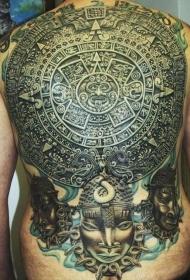 非常惊人的满背大量玛雅平板雕像纹身图案