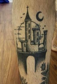 小腿雕刻风格黑色幻想城堡与月亮纹身图案
