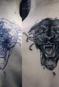 背部new school几何与黑豹纹身图案