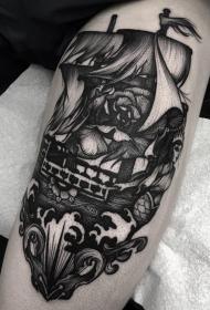 雕刻风格黑色花朵与帆船纹身图案