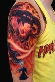 大臂彩色火焰指环恶魔与巫师纹身图案