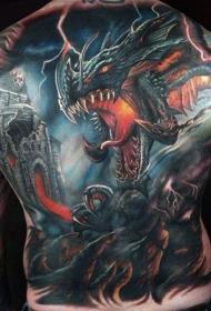 背部彩色幻想风格龙和老城堡纹身图案