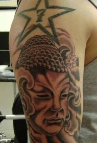 大臂佛像和佛教符号纹身图案