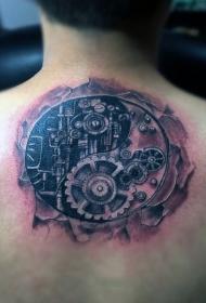 背部圆形黑色机械阴阳八卦纹身图案
