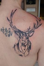 背部黑色线条鹿头和字符纹身图案