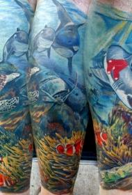 美丽的五彩水下生世界手臂纹身图案