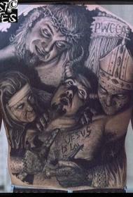 背部恐怖的的奇怪僵尸头像纹身图案