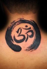 颈部黑色的简单圆形图腾与字符纹身图案