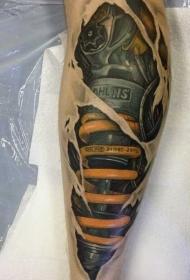 小腿3D五彩非常逼真的机械纹身图案