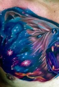 美丽的五彩星空咆哮熊头纹身图案