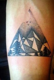 简单的黑色点刺几何风格山脉手臂纹身图案