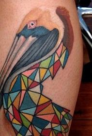 怪异组合的彩色鹭鸟几何纹身图案