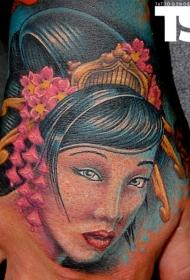 手背old school卡通彩色的艺妓头像纹身图案