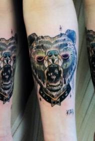 手臂new school彩色熊头像纹身图案