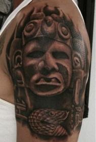 大臂阿兹特克风格黑白雕像纹身图案