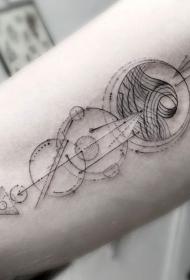 手臂黑色的几何风格小清新纹身图案
