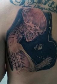 背部很酷的X射线透视人类骨骼纹身图案