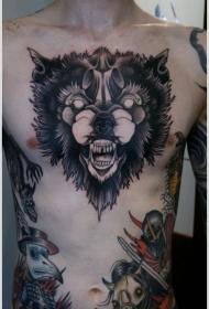 男性胸部黑色的狼头纹身图案