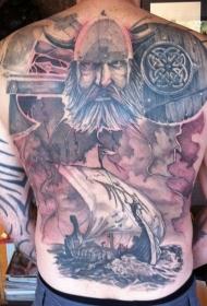 背部海盗船和武士纹身图案
