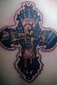 可怕的十字架眼睛和血液背部纹身图案