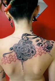 美丽的黑色红色图腾背部纹身图案