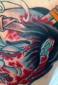 亚洲传统彩色血腥的生首纹身图案