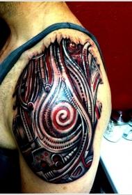 肩部黑色和红色的机械纹身图案