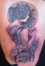 背部惊人漂亮的彩色女人肖像纹身图案