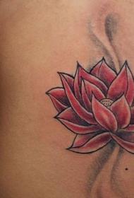背部简单的红色莲花纹身图案
